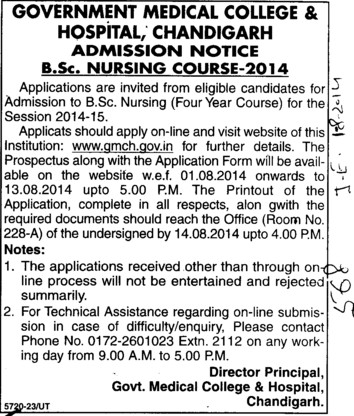 BSc Nursing course (Government Medical College and Hospital (Sector 32))