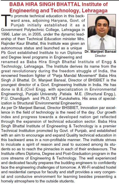 Message of Director Manjeet Bansal (Baba Hira Singh Bhattal Institute of Engineering and Technology (BHSBIET))
