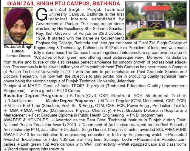 Message of Director Jasbir Singh Hundal (Giani Zail Singh College of Engineering and Technology GZCET)