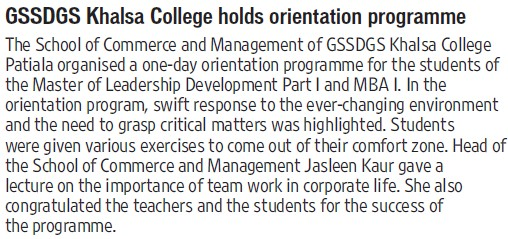 Orientation program held (Khalsa College)