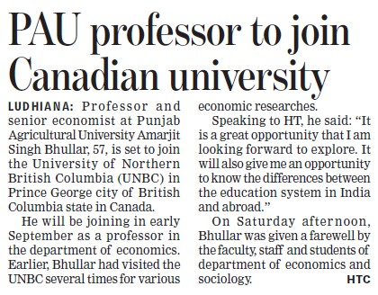 PAU professor to join Canadian University (Punjab Agricultural University PAU)