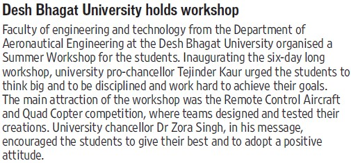 DBU holds workshop (Desh Bhagat University)