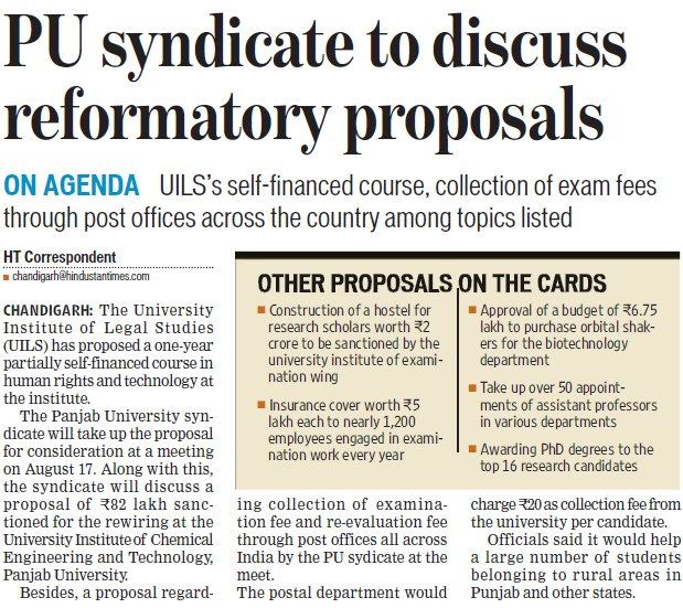 PU syndicate to discuss reformatory proposals (PU University Institute of Legal Studies (UILS))