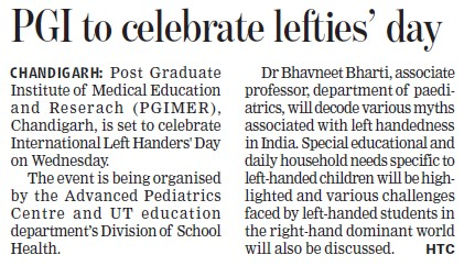 PGI to celebrate lefties day (Post-Graduate Institute of Medical Education and Research (PGIMER))