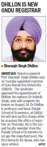 Dhillon elected as new Registrar (Guru Nanak Dev University (GNDU))