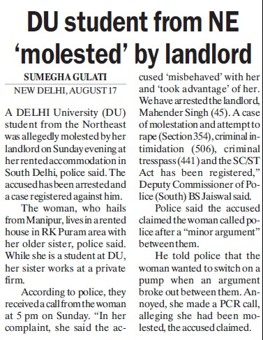 DU student from NE molested by landlord (Delhi University)