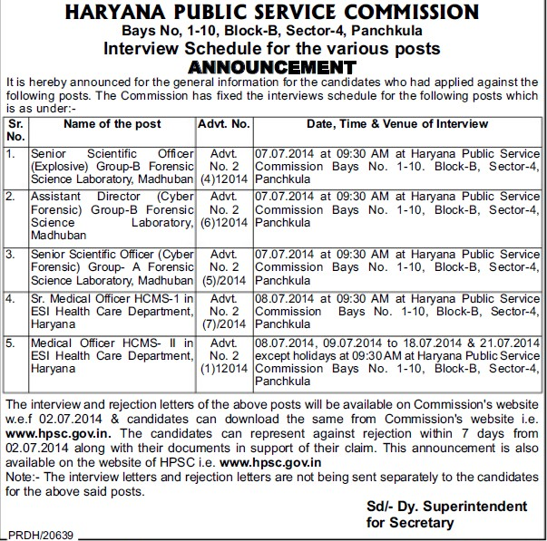 Senior Medical Officer (Haryana Public Service Commission (HPSC))