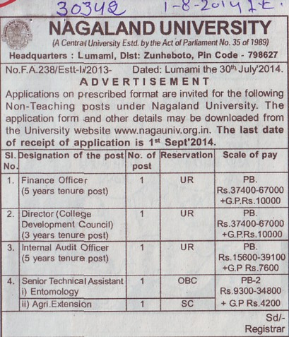 Internal Audit Officer (Nagaland University)