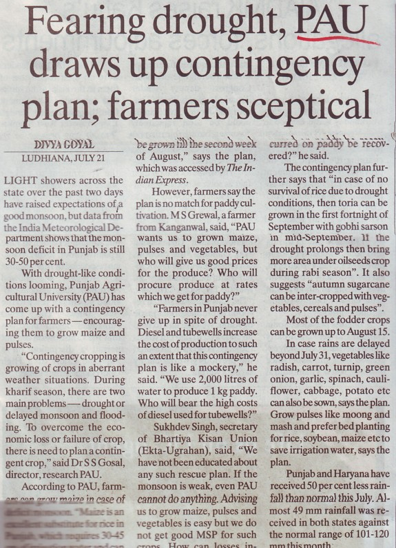 PAU draws up contingency plan (Punjab Agricultural University PAU)