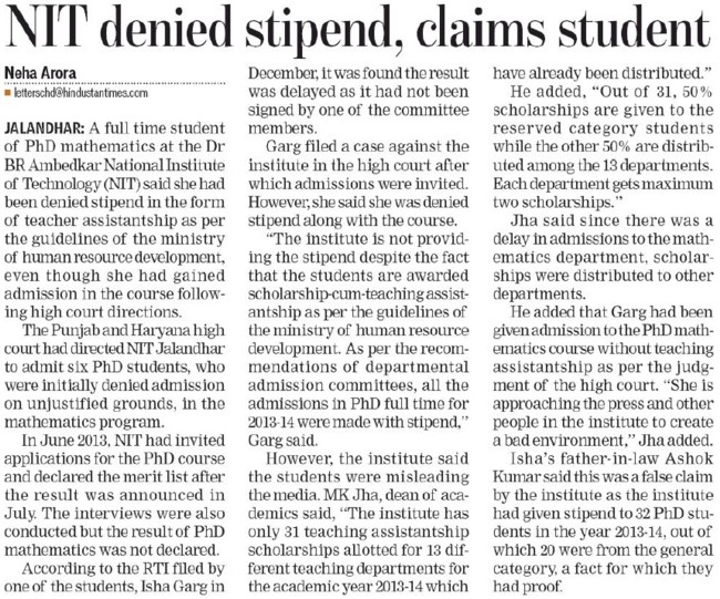NIT denied stipend, claims student (Dr BR Ambedkar National Institute of Technology (NIT))