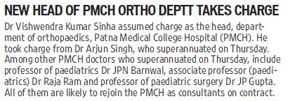 New head of PMCH ortho deptt takes charge (Patna Medical College)