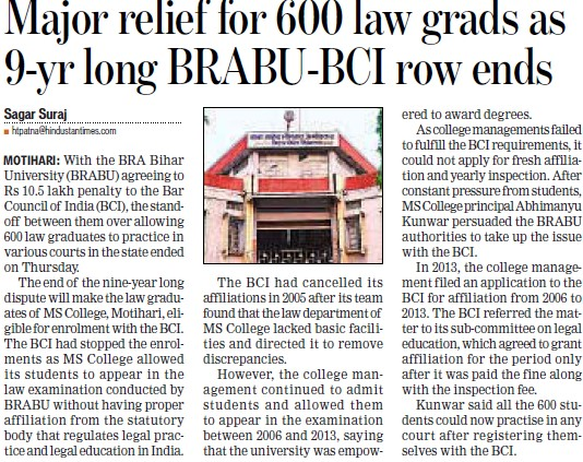 Major relief for 600 law grads (Babasaheb Bhimrao Ambedkar Bihar University)