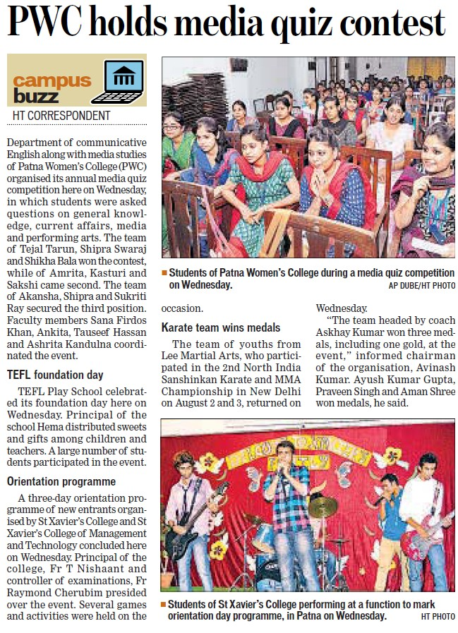 Media quiz contest held (Patna Womens College)