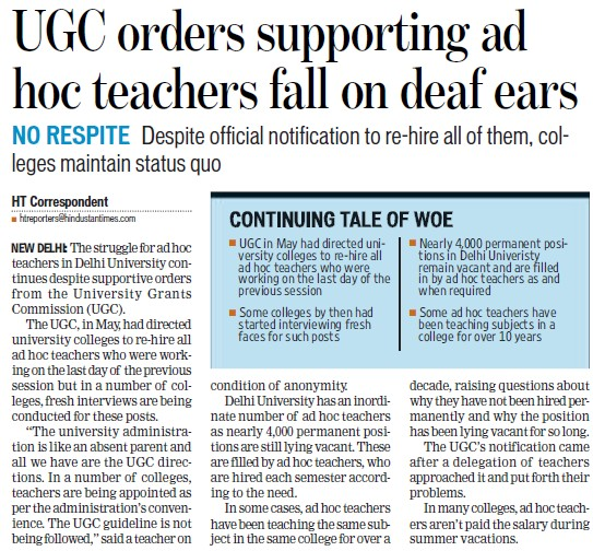 UGC orders supporting adhoc teachers fall on deaf ears (University Grants Commission (UGC))