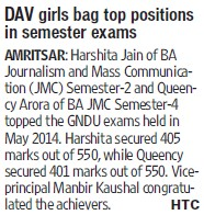 DAV girls bag top positions in semester exams (BBK DAV College for Women)