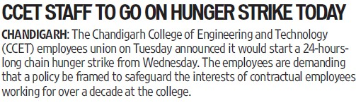CCET staff to go on hunger strike (Chandigarh College of Engineering and Technology (CCET))
