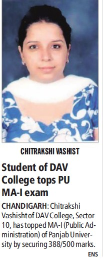 Student of DAV College tops PU MA I exam (DAV College Sector 10)