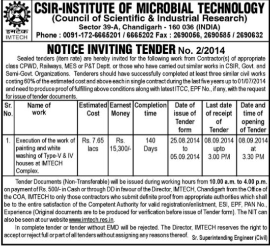 Execution of work (Institute of Microbial Technology (IMTECH))