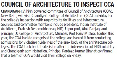 Council of Architecture to inspect CCA (Chandigarh College of Architecture)