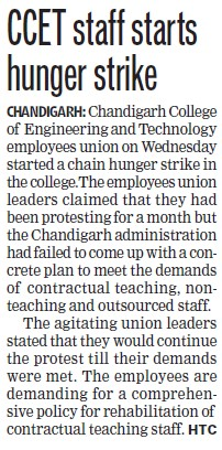 CCET staff starts hunger strike (Chandigarh College of Engineering and Technology (CCET))
