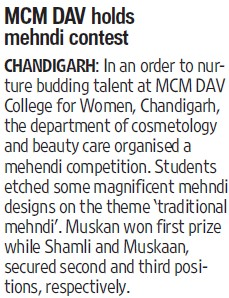 Mehndi contest held (MCM DAV College for Women)