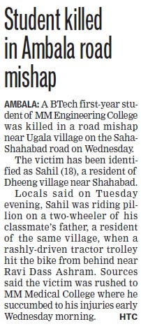 Student killed in Ambala road mishap (MM Engineering College (MMEC))