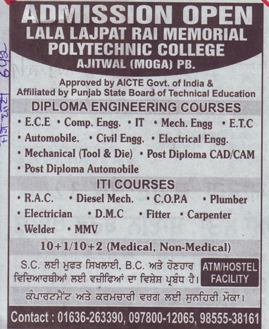 Diploma in ECE, CE and ME (Lala Lajpat Rai Memorial Polytechnic College)