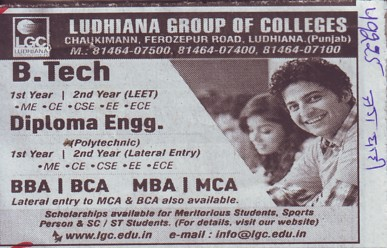 B Tech, BBA and MCA (Ludhiana Group of Colleges (LGC) Chowkimann)