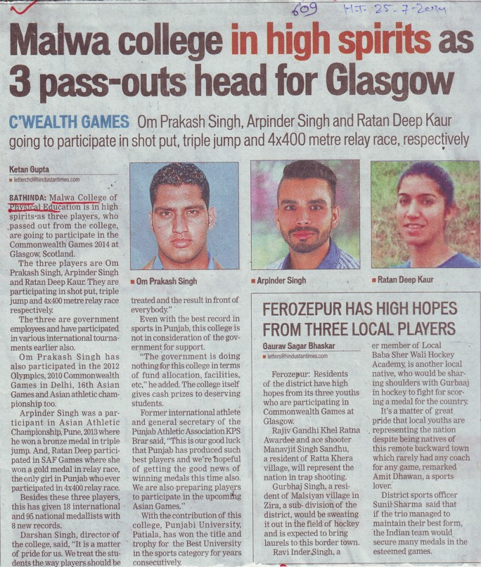 Malwa College in high spirits as 3 pass outs head for Glasgow (Malwa College of Physical Education)