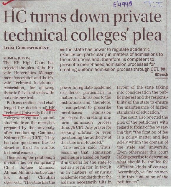 HC turns down Pvt Technical college plea (Himachal Pradesh Technical University HPTU)