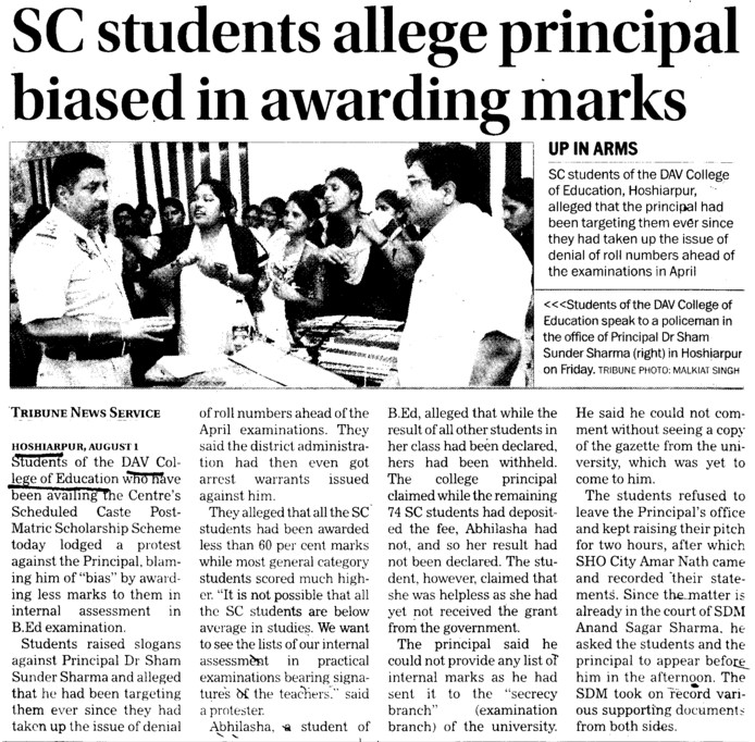 SC Students allege Principal in awarding system (DAV College of Education)