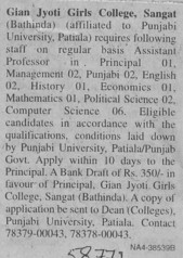 Principal for Political Science (Gian Jyoti Girls College)