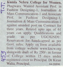 Asstt Professor for Fashion Designing (Kamla Nehru College for Women)
