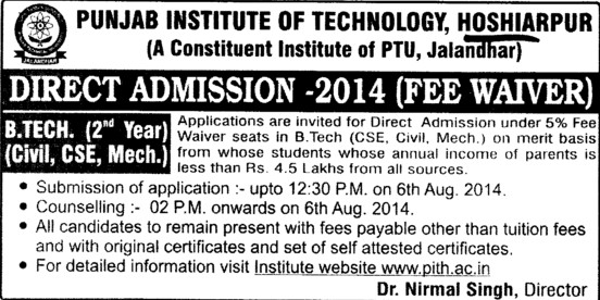 B Tech in CSE and ME (Punjab Institute of Technology (PIT))