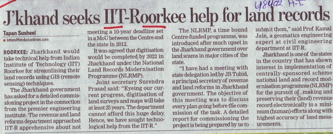 Jharkhand seeks IIT R help for land records (Indian Institute of Technology (IITR))