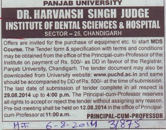 Purchase of equipments (Dr Harvansh Singh Judge Institute of Dental Sciences and Hospital)