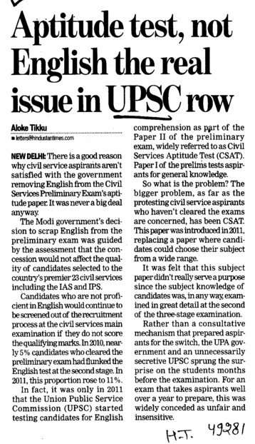 Aptitude test, not English the real issue in UPSC row (Union Public Service Commission (UPSC))