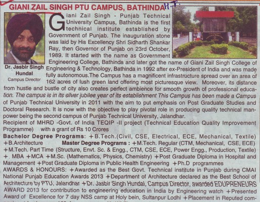 Message of Director Jasbir Singh (Giani Zail Singh College of Engineering and Technology GZCET)