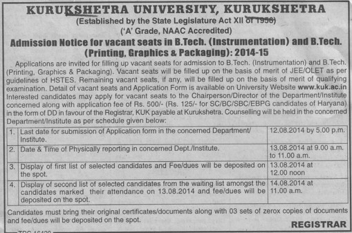 B Tech in Instrumentation (Kurukshetra University)