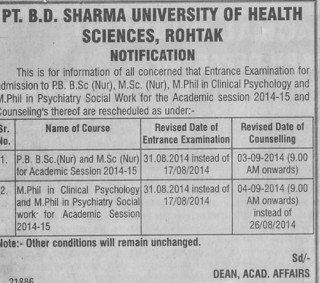 Post basic BSc Nursing (Pt BD Sharma University of Health Sciences (BDSUHS))
