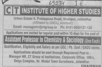 Asstt Professor in Chemistry and Sociology (CT Institute of Higher Studies Shahpur)
