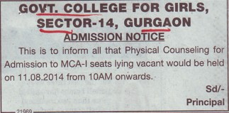 Physical Counselling for MCA course (Government Girls College Sector 14)