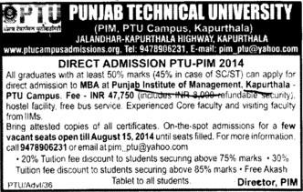 MBA Programme (Punjab Institute of Technology (PIT-K) (PTU Campus))