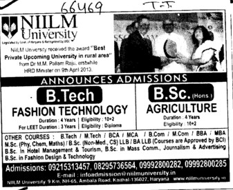 B Tech in Fashion Technology (NIILM University)