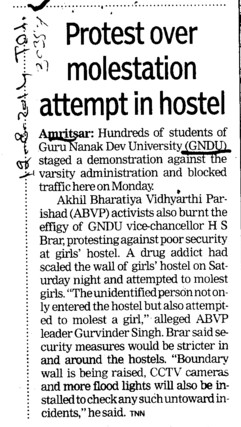 Protest over molestation attempt in hostel (Guru Nanak Dev University (GNDU))