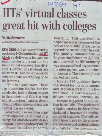 IITs virtual classes great hit with colleges (NIIT - Chennai (NH-33))