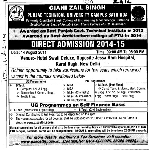 B Tech and MSc in Chemistry (Giani Zail Singh College of Engineering and Technology GZCET)