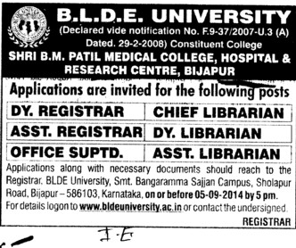 Office Superintendent (BLDEA Shri BM Patil Medical College Hospital and Research Centre)