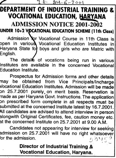 Vocation course after 11th (Department of Industrial Training and Vocational Education Haryana)