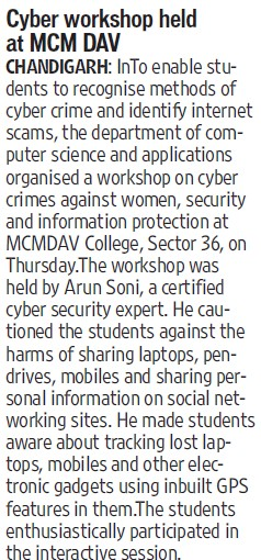 Cyber workshop held (MCM DAV College for Women)